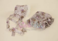 Grey Floral Lace Bonnet & Short Bloomers Set